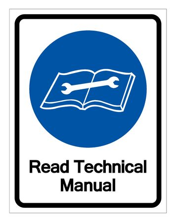 Read Technical Manual Symbol Sign, Vector Illustration, Isolated On White Background Label. 일러스트