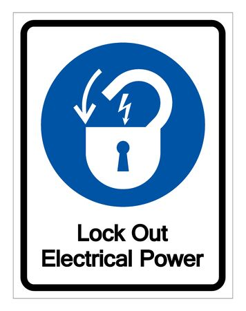 Lock Out Electrical Power Symbol Sign, Vector Illustration, Isolate On White Background Label 일러스트