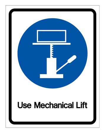 Use Mechanical Lift Symbol Sign,Vector Illustration, Isolated On White Background Label. 일러스트