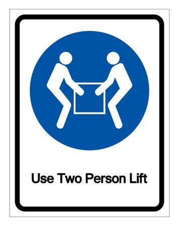 Verwenden Sie Zwei-Personen-Lift-Symbol-Zeichen, Vektor-Illustration, isoliert auf weißem Hintergrund-Label. Vektorgrafik