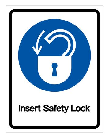 Insert Safety Lock Symbol Sign,Vector Illustration, Isolated On White Background Label.