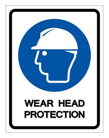 Wear Head Protection Symbol Sign, Vector Illustration, Isolated On White Background Label.