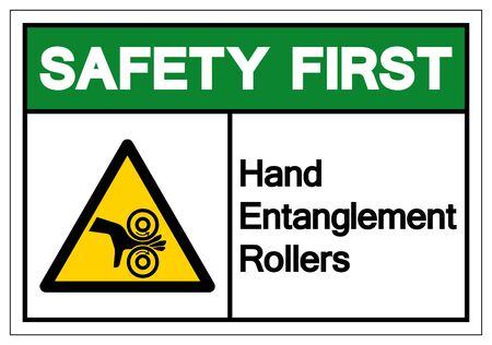 Safety First Hand Entanglement Rollers Symbol Sign, Vector Illustration, Isolate On White Background Label