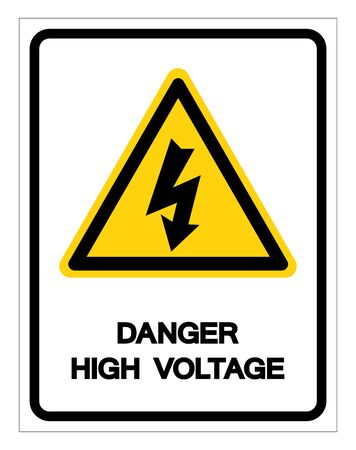 Beware High Voltage Symbol Sign, Vector Illustration, Isolated On White Background Label  イラスト・ベクター素材