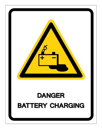 Danger Battery Charging Symbol Sign, Vector Illustration, Isolated On White Background Label 向量圖像