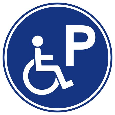 Disabled Parking Symbol Sign, Vector Illustration, Isolate On White Background Label. EPS10