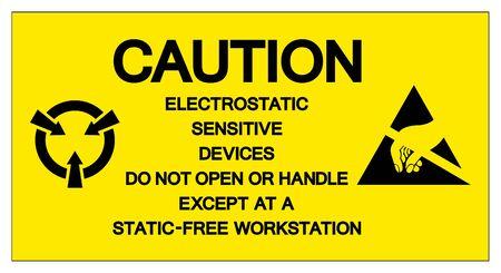 Caution Electrostatic Sensitive Device Do Not Open Or Handler Except At A Static-Free Workstation Symbol Sign, Vector Illustration, Isolated On White Background Label .EPS10 Ilustração