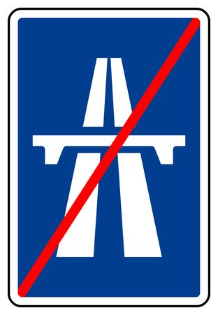 Expressway End Symbol Sign, Vector Illustration, Isolate On White Background Label. EPS10