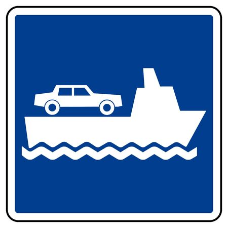 Car Ferry Symbol Sign, Vector Illustration, Isolate On White Background Label. EPS10