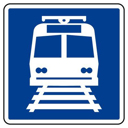 Znak do symbolu dworca kolejowego, ilustracji wektorowych, izolowanie na etykiecie na białym tle. EPS10