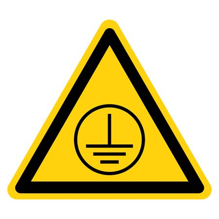 Warning Protective Earth Ground Symbol Sign, Vector Illustration, Isolate On White Background Label. EPS10