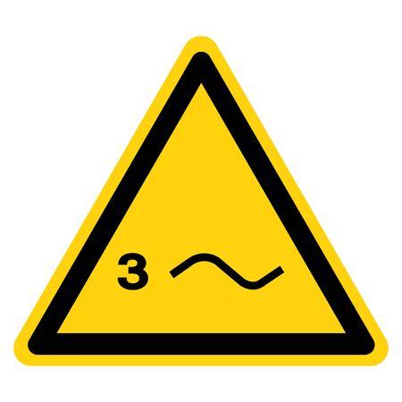 Warning Three Phase Power Symbol Sign, Vector Illustration, Isolate On White Background Label. EPS10 Ilustração