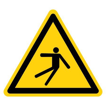 Warning Injury Hazard Slip Fall Symbol Sign, Vector Illustration, Isolate On White Background Label