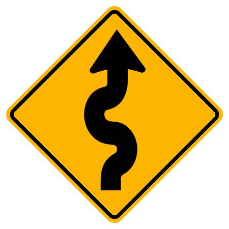 Winding Traffic Road Sign,Vector Illustration, Isolate On White Background Label.