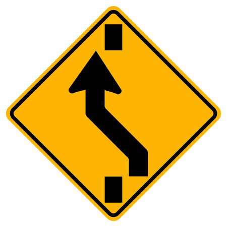 Square Shaped Changing To Left Lane Traffic Road Sign,Vector Illustration, Isolate On White Background Label.