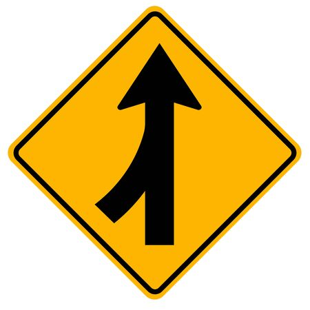 Merges Left Traffic Road Sign,Vector Illustration, Isolate On White Background Label.