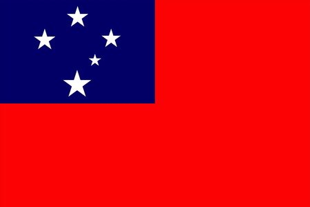 The Original Flag Of Samoa,Vector Illustration The Color Of The Original,  Official Colors and Proportion Correctly, Isolate White Background Label . Standard-Bild - 134672007