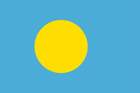 The Original Flag Of Palau,Vector Illustration The Color Of The Original,  Official Colors and Proportion Correctly, Isolate White Background Label .