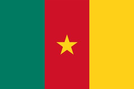 The Original Flag Of Cameroon,Vector Illustration The Color Of The Original,  Official Colors and Proportion Correctly, Isolate White Background Label . Standard-Bild - 134672010