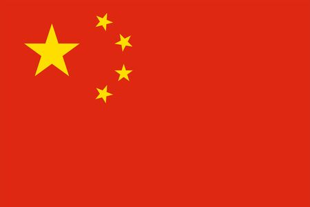The Original Flag of China,Vector Illustration The Color of the Original, Official Colors and Proportion Correctly,Correct Size, Isolate White Background Label . Standard-Bild - 134672012