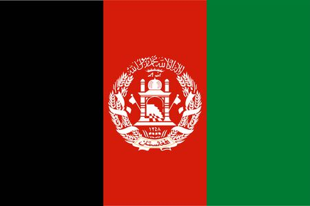 The Original Flag Of Afghanistan,Vector Illustration The Color Of The Original,  Official Colors and Proportion Correctly, Isolate White Background Label . Standard-Bild - 134672013