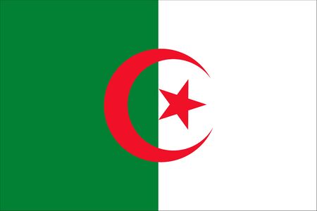 The Original Flag of Algeria,Vector Illustration The Color of the original, Official Colors and Proportion Correctly, Isolate White Background Icon . Standard-Bild - 134672014