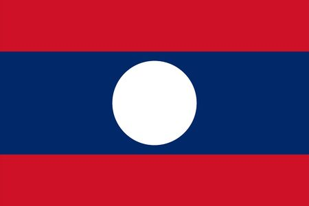 The Original Flag of Lao,Vector Illustration The color of the original, Official colors and proportion correctly, Isolate white background Icon . Standard-Bild - 134672022