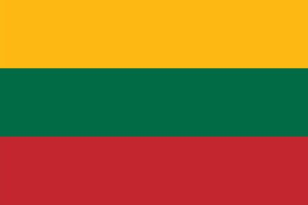 The Original Flag of Lithuania,Vector Illustration The color of the original, Official colors and proportion correctly, Isolate white background Icon . Standard-Bild - 134672021
