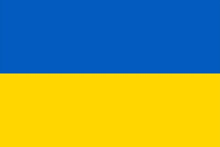 The Original Flag of Ukraine,Vector Illustration The Color of the Original, Official Colors and Proportion Correctly,Correct Size, Isolate White Background Label . Standard-Bild - 134672055