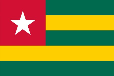 The Original Flag of Togo,Vector Illustration The Color Of The Original,  Official Colors and Proportion Correctly, Isolate White Background Label