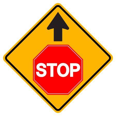 Warning Stop Traffic Road Sign,Vector Illustration, Isolate On White Background Label. Standard-Bild - 134672059