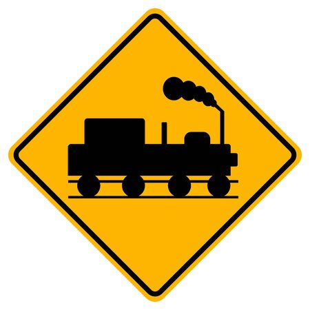 Train Railroad Traffic Road Sign,Vector Illustration, Isolate On White Background Label Standard-Bild - 134672064