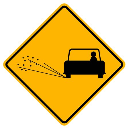Warning Loose Chippings Traffic Road Sign,Vector Illustration, Isolate On White Background Label.
