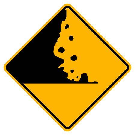 Warning Falling Rocks Traffic Road Sign,Vector Illustration, Isolate On White Background,Symbols, Label.