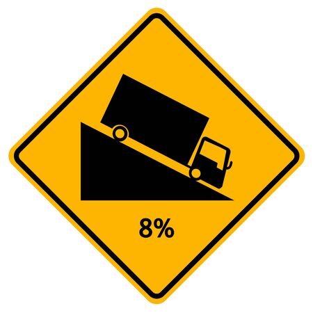Warning Down To Hill Square Shaped Steep Climb (8%) Traffic Road Sign,Vector Illustration, Isolate On White Background, Symbols, Label. Standard-Bild - 134672067