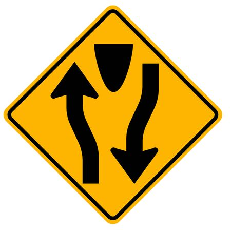 Divided Highway Begins Traffic Road Sign,Vector Illustration, Isolate On White Background Label.