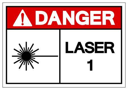 Danger Laser 1 Symbol Sign ,Vector Illustration, Isolate On White Background Label. Standard-Bild - 134672069