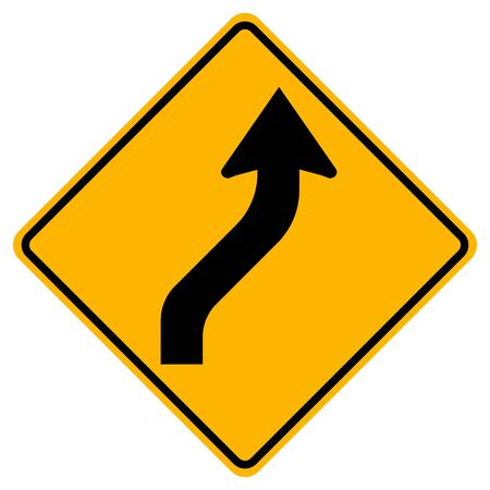 Reverse Curved Right Traffic Road Sign,Vector Illustration, Isolate On White Background,Symbols, Label. EPS10