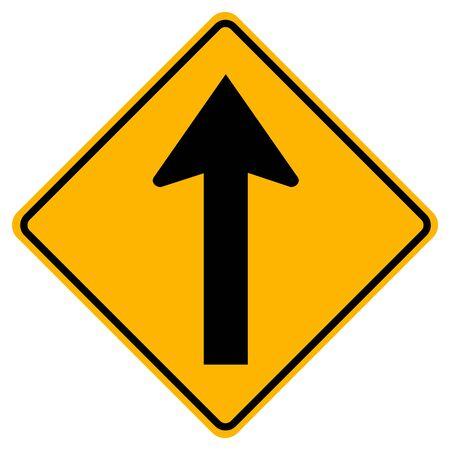 Allez tout droit panneau de signalisation routière, illustration vectorielle, isoler sur fond blanc, symboles, étiquette.