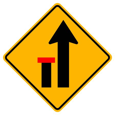 Lane Left Closed Traffic Road Sign,Vector Illustration, Isolate On White Background Label.