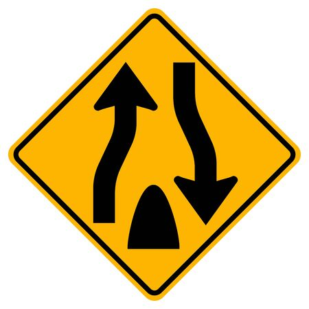 Divided Highway Ends Traffic Road Sign,Vector Illustration, Isolate On White Background Label. EPS10