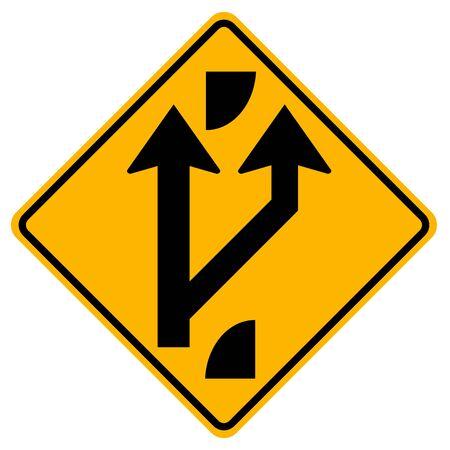 Indiquant une route fourchue à venir Panneau de signalisation routière, illustration vectorielle, isoler sur fond blanc, symboles, étiquette. EPS10
