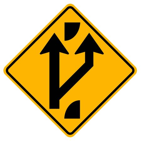 Indicating a forked road ahead Traffic Road Sign,Vector Illustration, Isolate On White Background,Symbols, Label. EPS10
