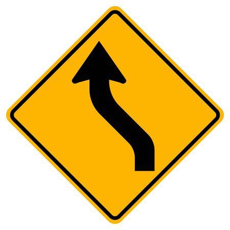 Reverse Curved Left Traffic Road Sign,Vector Illustration, Isolate On White Background,Symbols, Label. EPS10   Ilustração