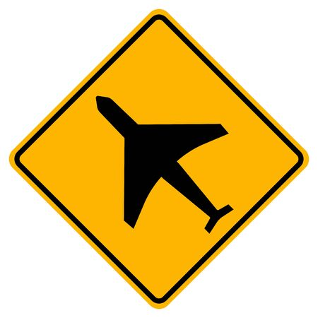 Warning Low Flying Airplanes Traffic Road Sign,Vector Illustration, Isolate On White Background Label. EPS10