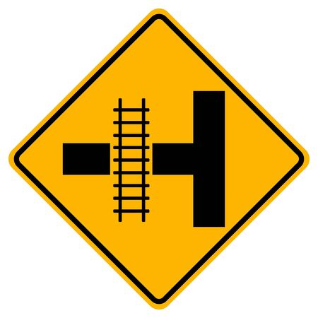 The Railroad Cuts Through The Road Traffic Road Sign,Vector Illustration, Isolate On White Background Label. EPS10