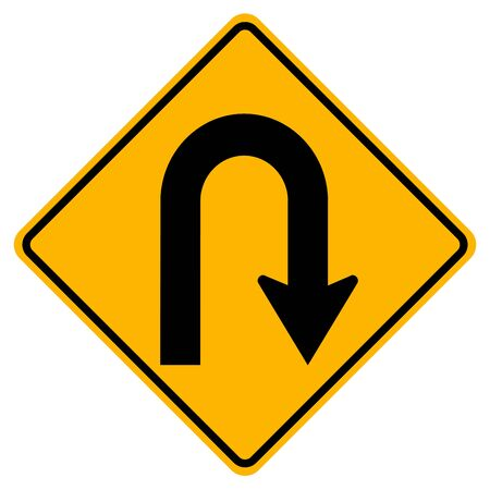 U-Turn Right Traffic Road Sign,Vector Illustration, Isolate On White Background Label. EPS10