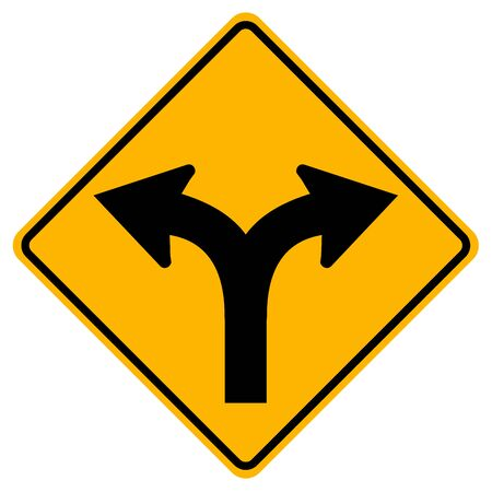 Fork In Road Traffic Sign,Vector Illustration, Isolate On White Background Label.