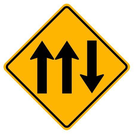 Three Lane Traffic Road Sign,Vector Illustration, Isolate On White Background Label. Standard-Bild - 134717886