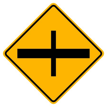 4-Junction Crossroads Junction Traffic Road Sign,Vector Illustration, Isolate On White Background Label. Vectores